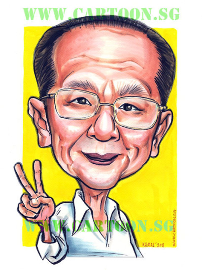 Caricature of a grandfather showing victory sign