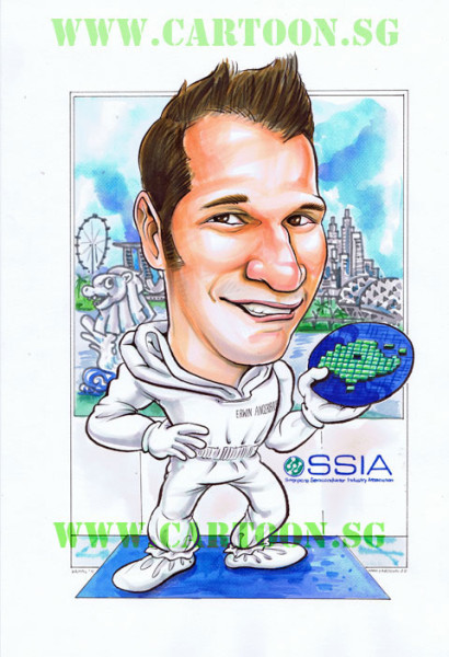 Top executive of a Semiconductor Plant in Singapore in clean suit caricature for corporate gift
