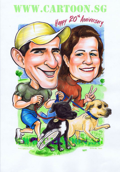 Couple and their dogs taking a walk in the park cartoon caricature drawing portrait gifts.