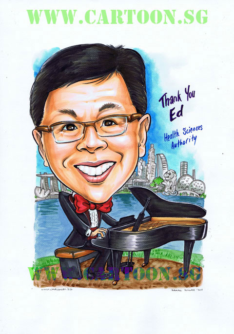Cartoon caricature of Man in tuxedo playing piano with the Singapore skyline in the background.