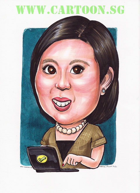 Caricature of University lecturer doing online marking.
