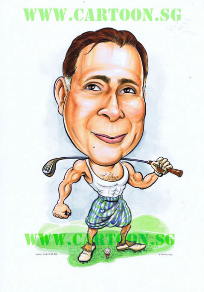 Golfer in dhoti sarong very muscular and proud nose birthday caricature