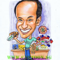 Balding boss loosing weight for eating subway sandwiches caricature by Singapore artist