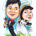Wedding caricature fishing and photographer by Cartoon.Sg singapore artists