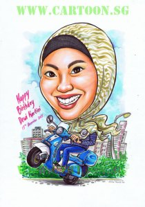 Motorccyclis, biker minah rempit, jilbab, motorcycle wheelie cartoon caricature singapore artist