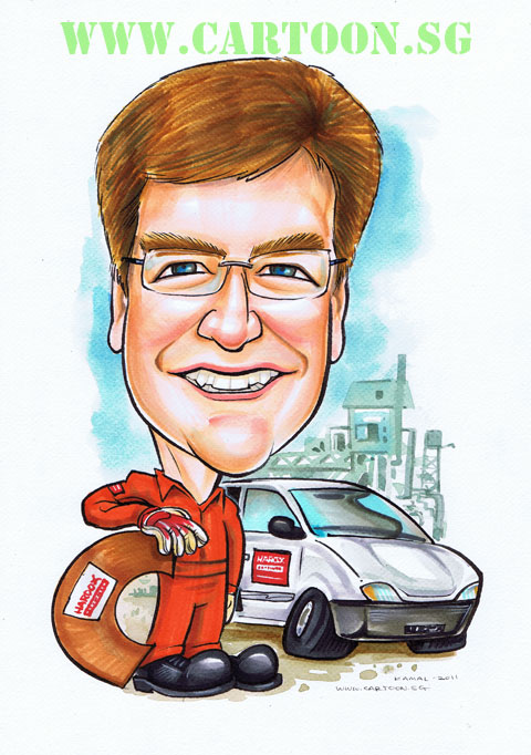 Engineer with van and parts at a power plant caricature singapore