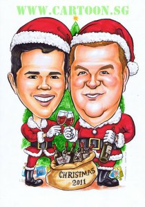 Two santa clause with sack full of wine. Christmas caricature by Singapore artist