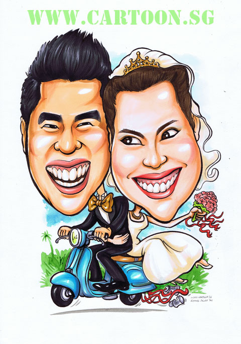 Vietnamese Bride on a Scooter. Caricature by Singapore Artist