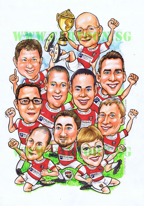 Cheering Fans Cartoon : Cartoon sg singapore caricature artists for gifts