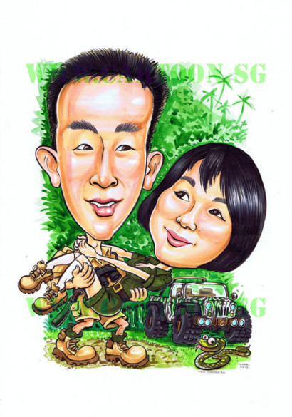 Caricature Gift Adventure Couple