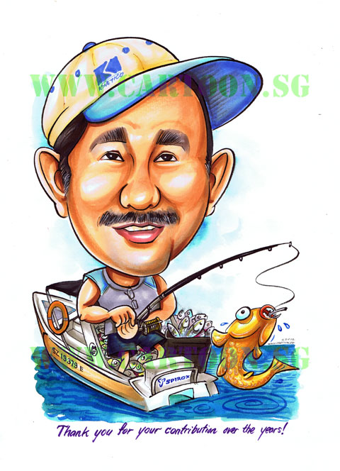 cartoon sg  u2013 singapore caricature artists for gifts  u0026 eventsretirement gift for a fishing