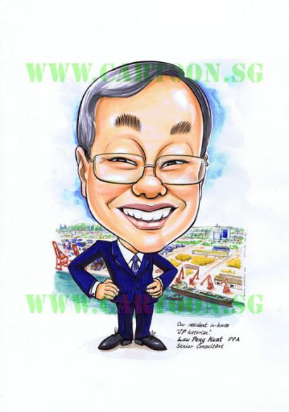 2012-08-02-jurong-port-retirement-gift-senior-consultant-caricature-cartoon