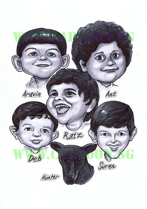 2012-08-03_family_cousins-children-black-and-white-caricature1.jpg