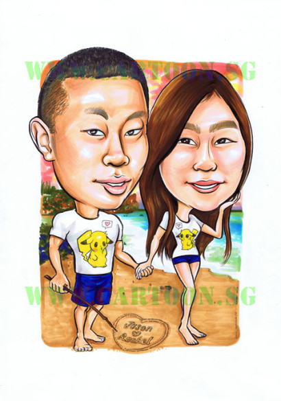 2012-09-05-Pikachu-Couple-Beach-Boyfriend-Girlfriend-Gift-Caricature
