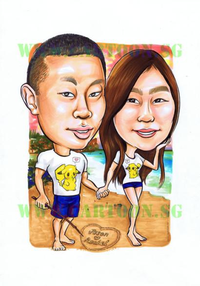 2012-09-05-Pikachu-Couple-Beach-Boyfriend-Girlfriend-Gift-Caricature