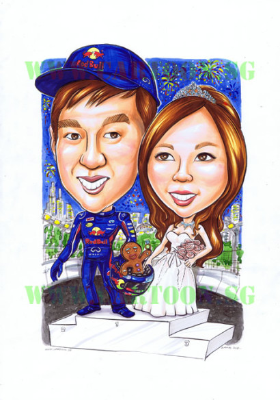 F1-wedding-caricature-fireworks-gingerbread-man-couple-cartoon-wedding-standee-singapore
