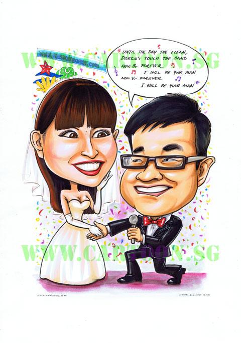 2013-01-07-wedding-couple-caricature-song-lyric-bridal-gown-groom-microphone.jpg