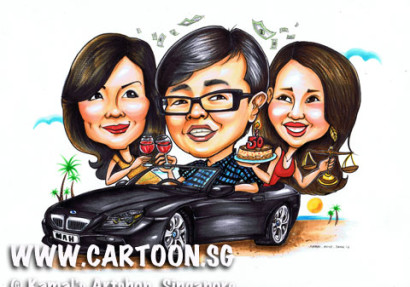 Caricature drawing from photo. Cartoon drawing for boss farewell gift and special momentos. Singapore artists