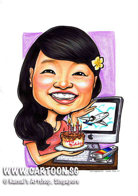 Caricature of birthday gift for designer who design posters for airline. freelancer