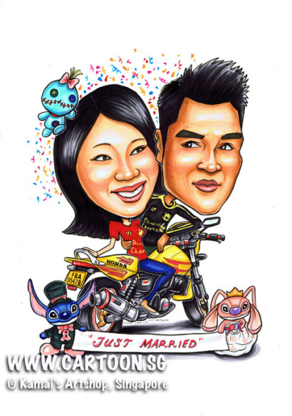 2013-04-16-caricature-bike-stich-just-married-yellow