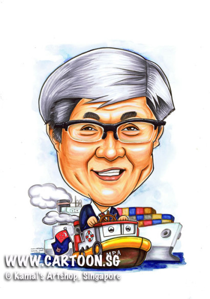 2013-04-17-Tugboat-Port-Master--caricature-farewell-gift-Flag-Cargo-Ship