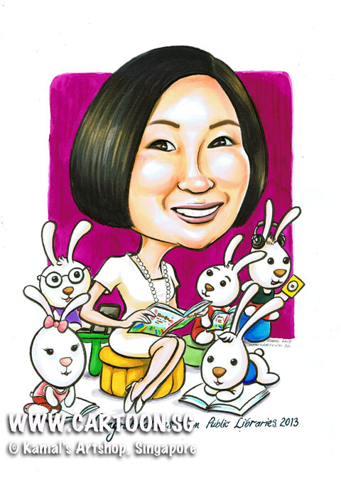 Cartoon caricature of Library Chief Executive readin children storybook to her bunnies.