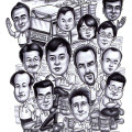 Farewell gift for a chemical plant worker. Gift caricature drawing himself with boss and colleagues.