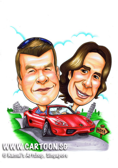 Caricature Singapore Best Friends gift