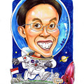 Astronaut caricature, funny thematic, moon, singapore japan. drawing by caricaturist artists
