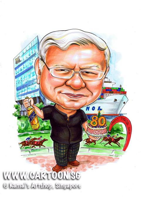 2013-05-03-80th-birthday-caricature-gift-for-developer-Ship-mechant-horse-racing.jpg
