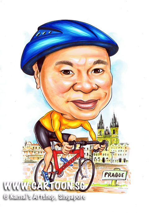 2013-05-13-Parague-blue-helmet-cyclist-red-bicycle-church-caricature.jpg