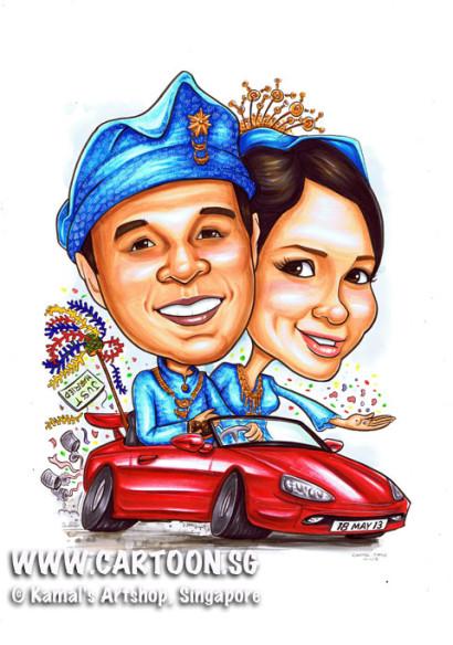 2013-05-15-MalayWedding-SportsCar-caricature