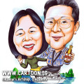 2013-07-12-couple-caricature-boat-sea-mountain