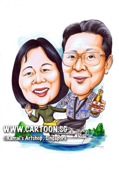 2013-07-12-couple-caricature-boat-sea-mountain
