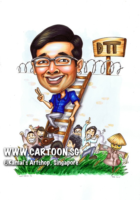 2013-07-23-caricature-DTT-rice-paddies-scarecrow-blue-shirt-glasses-ladder.jpg