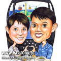2013-07-29-Caricature-cable-car-hearts-food-checkered-blue-shirt