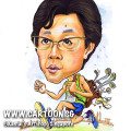singapore caricature cartoon art drawing fun picture image sketch colour toyota golf marathon bag blue shoes green running shirt jogging jog sporty sports buildings building tired sweating sweat perspire perspiring