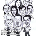 singapore caricature cartoon art drawing fun picture image sketch group team black white nine people