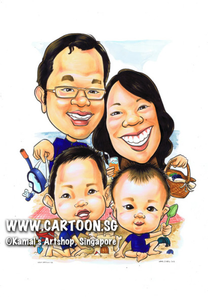 singapore caricature cartoon art drawing fun picture image sketch colour family beach picnic snorkeling goggles basket sandcastles kid children kids boys sons boy son play sand playing mat sea ocean happy family happiness