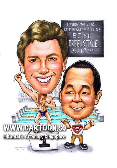 singapore caricature cartoon art drawing fun picture image sketch colour swimming pool champion medal london olympics number 1 one first winner superman shirt brown pants macho six pack stadium sports sporty audience crowd applause cheering cheer