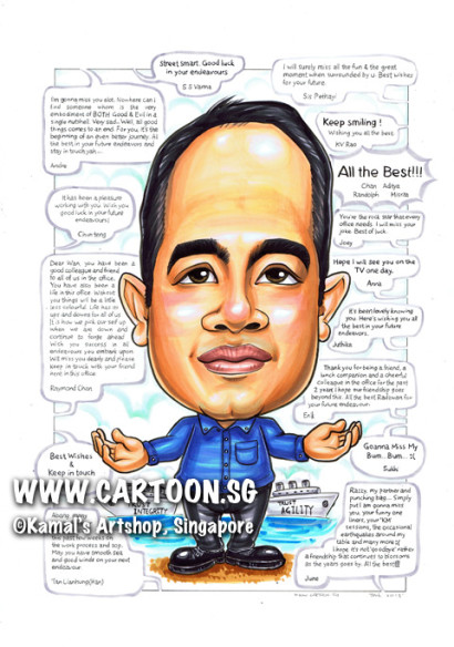 singapore caricature cartoon art drawing fun picture image sketch colour speech bubble dialogue boat gift agility