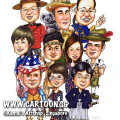 singapore caricature cartoon art drawing fun picture image sketch colour group farewell boss friends japan cowboy america indiana axe traditional costumes different uniforms uniform australia korea