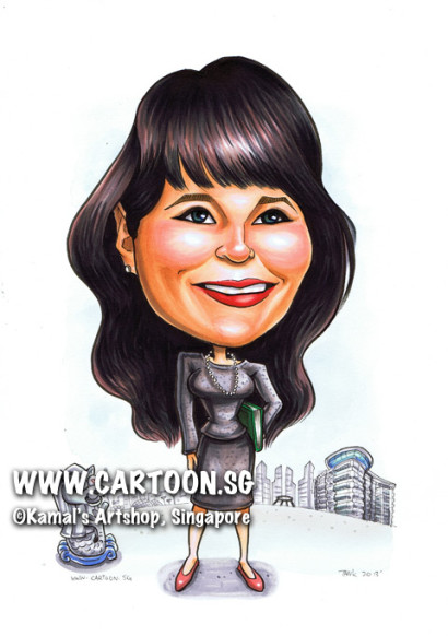 singapore caricature cartoon art drawing fun picture image sketch colour librarian merlion building pencil skirt black shirt pearl necklace books national library smiling smile happy long hair red shoes building buildings