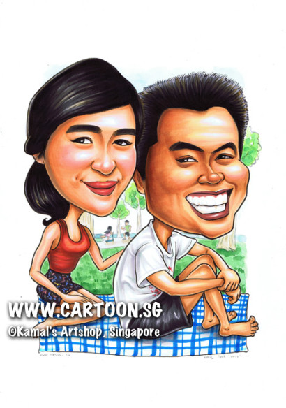 singapore caricature cartoon art drawing fun picture image sketch colour couple smiling smile happy love park blue checkered mat red tank top black shorts white t-shirt picnic trees tree play touch sitting sea toes casual relax relaxation relaxing chill chillout informal day out