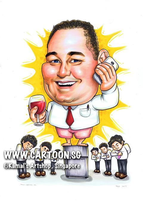 2013-08-05-caricature-fridge-singapore-pink-shrts-red-tie-glass-wine-handphone.jpg
