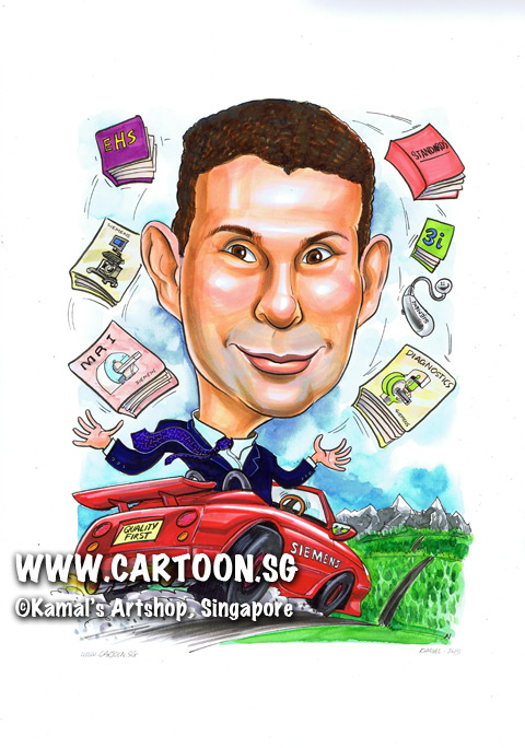 singapore caricature cartoon art drawing fun picture image sketch colour siemens quality first books grass mountains snow car red purple ehs diagnostics standards 3i juggling juggle juggler cape blue business suit speeding speed carplate drive