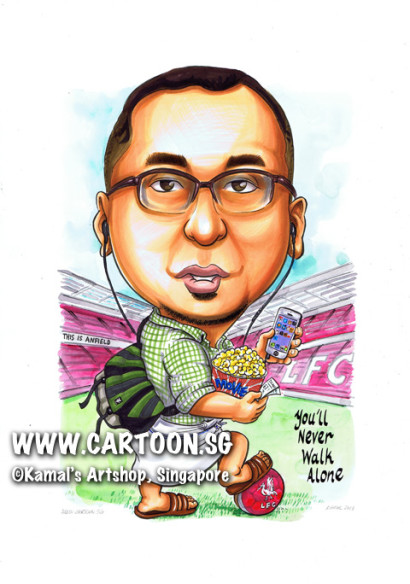 singapore caricature cartoon art drawing fun picture image sketch colour football popcorn anfield glasses you'll never walk alone mobile phone cellphone handphone green checked shirt backpack duffel bag red soccer ball football LFC earpiece white tunic stadium