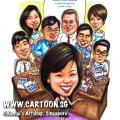 singapore caricature cartoon art drawing fun picture image sketch colour happy man merlion tall building buildings ship singapore flyer golf bag running waving run wave blue shirt black pants city red mast ocean water sea singapore river patch of grass structure city hall