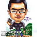 singapore caricature cartoon art drawing fun marriage proposal diamond ring flower man woman lady couple ring flower rose stem stalk leaf purple cushion building hilton hotel building will you marry me blue dress white shirt grey pants smiling happy surprise fun love romance surprise happiness down on one knee