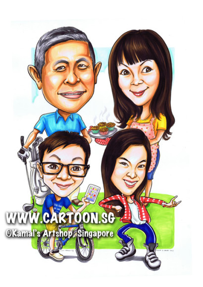 2013-09-30-caricature-family-biscylce-cooking-cupcake-hip-hop-dacing-smartphone-iphone-golf